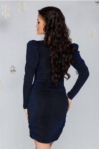 Rochie Angel neagra cu fir lurex albastru metalic