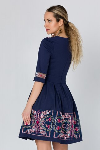 Rochie Angy bleumarin cu broderie florala