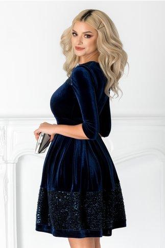 Rochie Angy bleumarin din catifea cu paiete