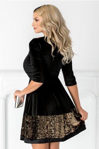 Rochie Angy neagra din catifea cu paiete aurii