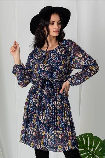 Rochie Ania bleumarin plisata cu imprimeuri florale