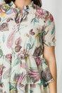 Rochie Ania ivory cu imprimeuri vernil