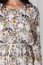 Rochie Ania ivory plisata cu imprimeuri florale