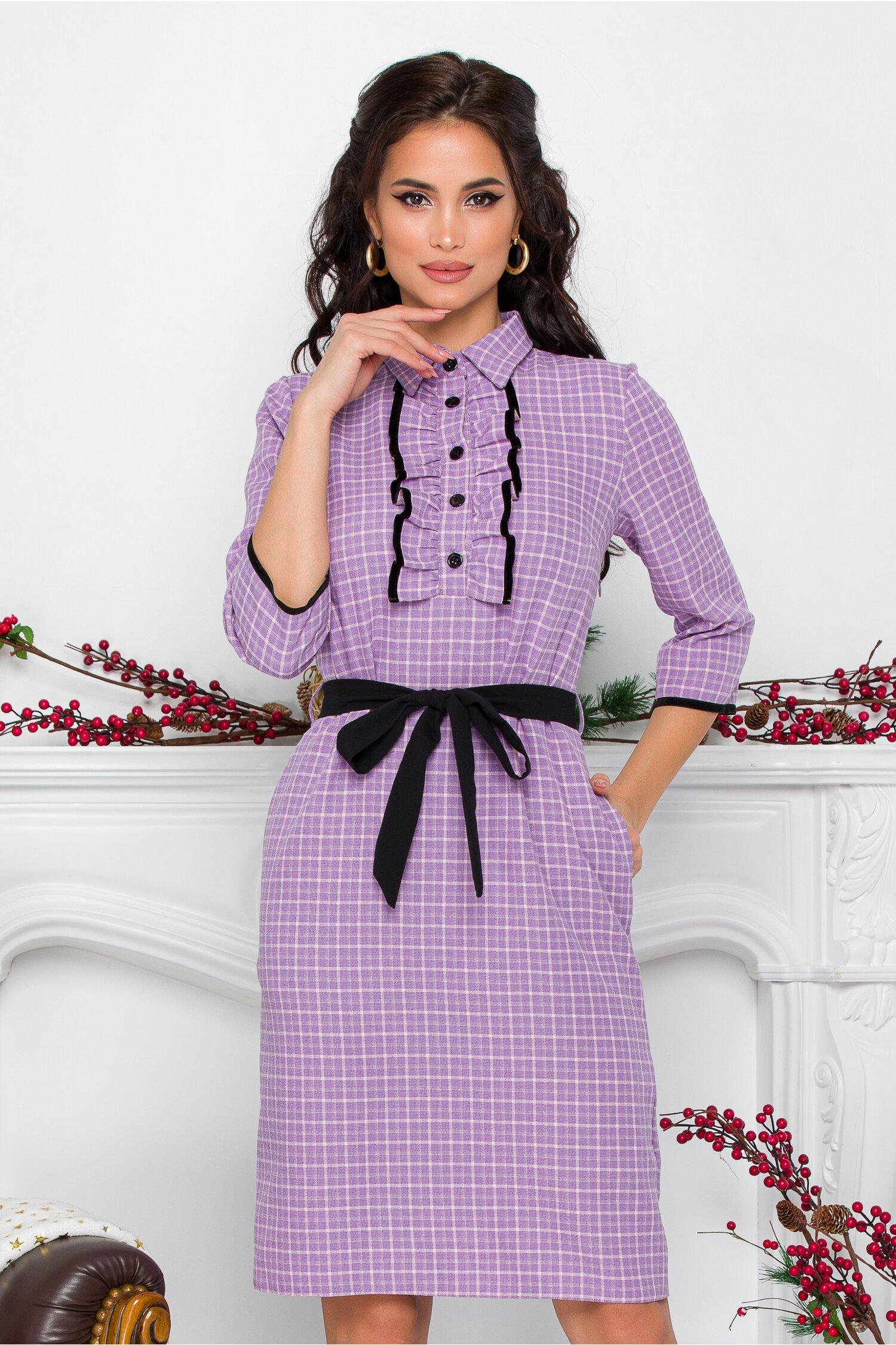 Rochie Ania office lila cu carouri si volnas la bust