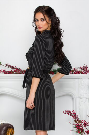 Rochie Ania office neagra cu dungi si volnas la bust