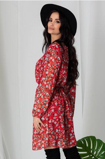 Rochie Ania rosie plisata cu imprimeuri florale