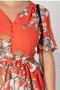 Rochie Aniela corai cu imprimeu floral alb