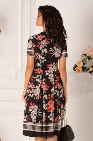 Rochie Aniela neagra cu imprimeu floral maxi