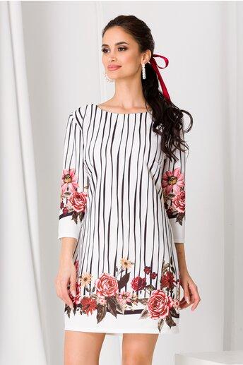 Rochie Anisia alba cu dungi negre si flori roz