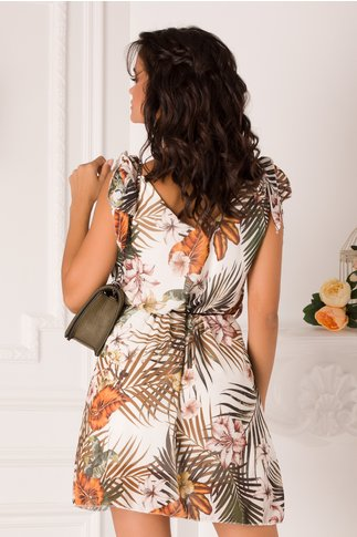 Rochie Anisia alba cu imprimeu tropical