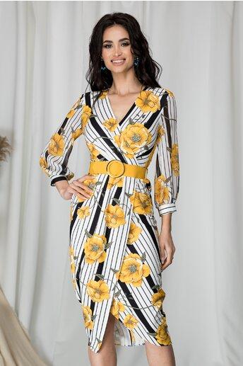 Rochie Anisia cu dungi alb-negru si flori galbene