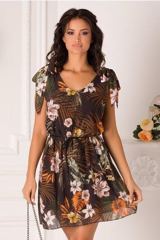 Rochie Anisia neagra cu imprimeu tropical