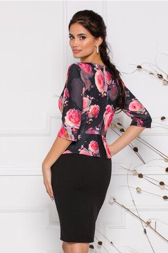Rochie Anisia neagra cu imprimeuri florale roz cu peplum
