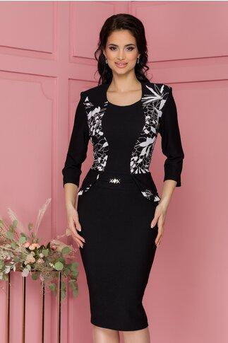 Rochie Anisia neagra cu peplum si imprimeu floral