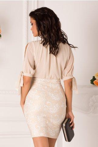 Rochie Anissia bej cu detalii florale albe pe fusta