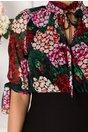 Rochie Anissia neagra cu imprimeu colorat la bust