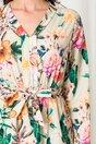 Rochie Anna bej cu imprimeu floral si fusta petrecuta