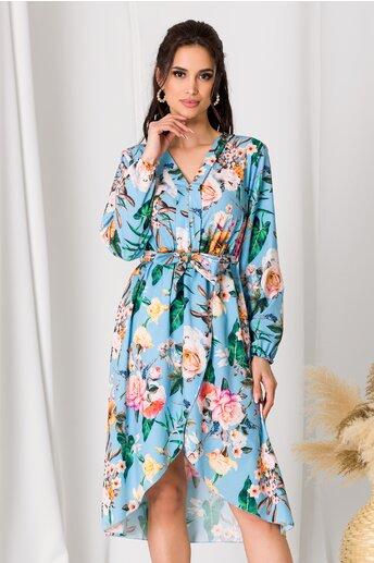 Rochie Anna bleu cu imprimeu floral si fusta petrecuta