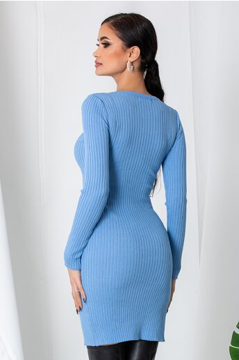Rochie Anna bleu din tricot reiat