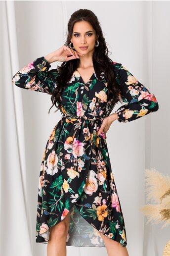 Rochie Anna neagra cu imprimeu floral si fusta petrecuta