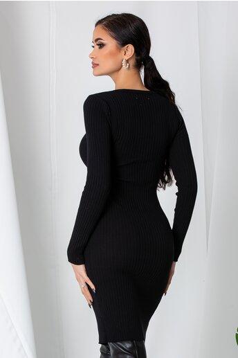 Rochie Anna neagra din tricot reiat