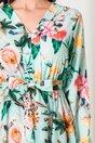 Rochie Anna verde mint cu imprimeu floral si fusta petrecuta