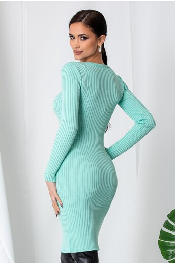 Rochie Anna verde mint din tricot reiat