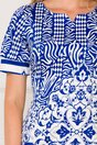 Rochie Anne alba cu imprimeuri albastre