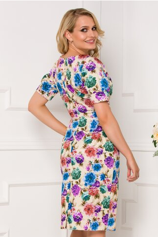 Rochie Anne bej cu imprimeuri florale colorate