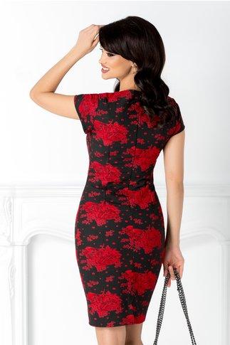 Rochie Annelie neagra cu broderie florala rosie