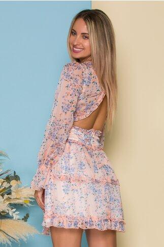 Rochie Annie roz somon cu imprimeuri florale bleu