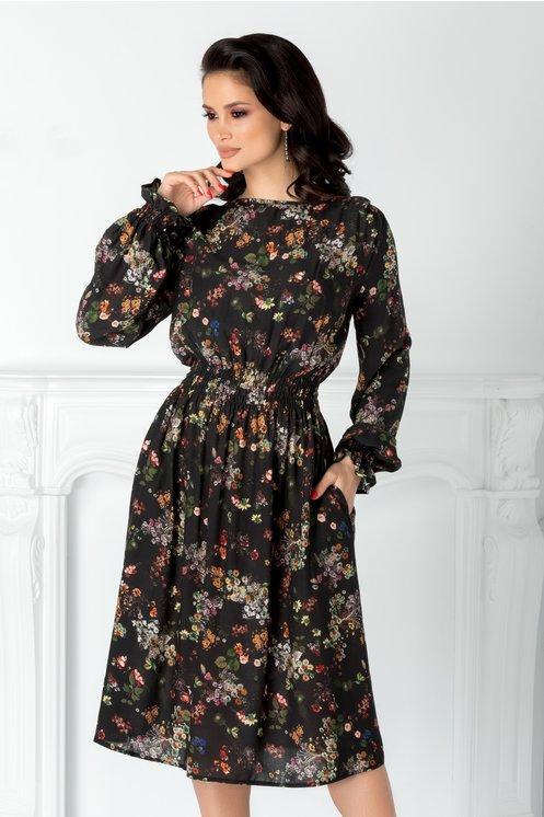 Rochie Anny vaporoasa neagra cu imprimeu floral