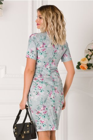 Rochie Anto bleu cu imprimeuri florale roz