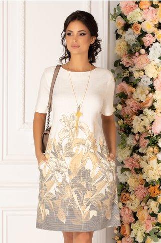 Rochie Antonia bej cu imprimeu floral in nuante de galben