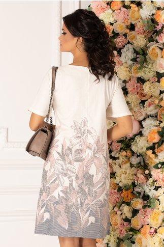 Rochie Antonia bej cu imprimeu floral roz pal