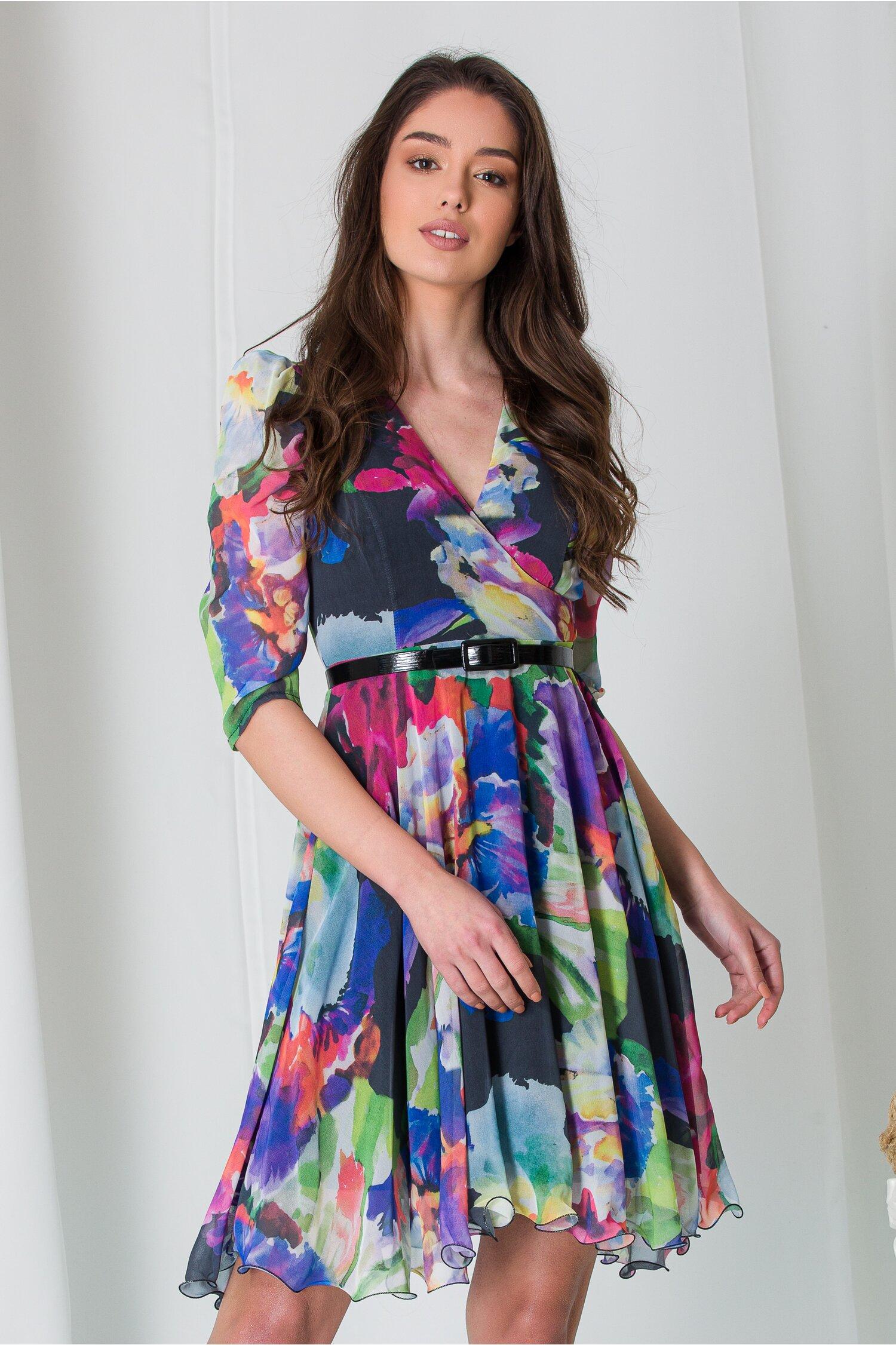 Rochie Any din voal cu imprimeuri colorate