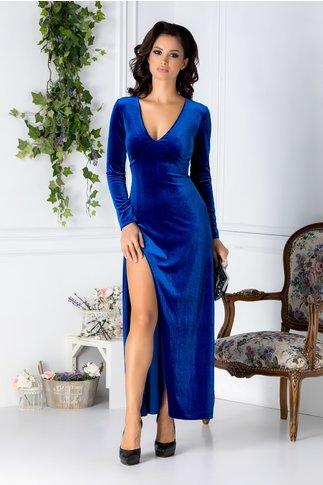 Rochie Anya lunga albastra din catifea