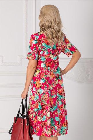 Rochie Arabela fucsia cu imprimeuri florale colorate