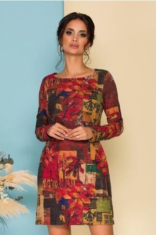 Rochie Aria cu imprimeuri in nuante tomnatice