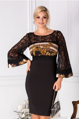 Rochie Ariadna neagra eleganta cu dantela hand made in talie