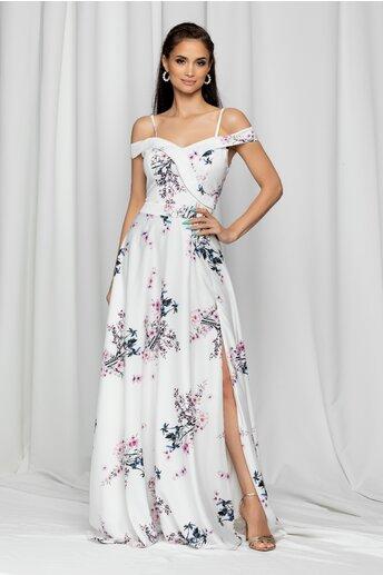 Rochie Ariana alba lunga cu imprimeu floral si design pe umeri