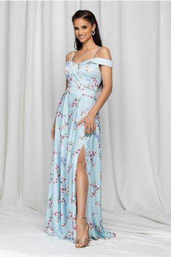 Rochie Ariana bleu lunga cu imprimeu floral