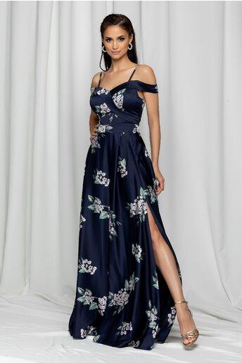 Rochie Ariana bleumarin lunga cu imprimeu floral