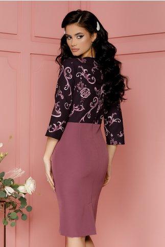 Rochie Ariana lila cu imprimeu floral mov si peplum in talie