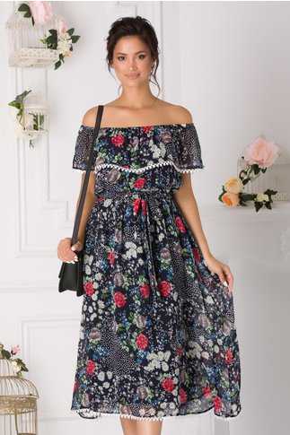 Rochie Ariana midi bleumarin cu imprimeuri florale
