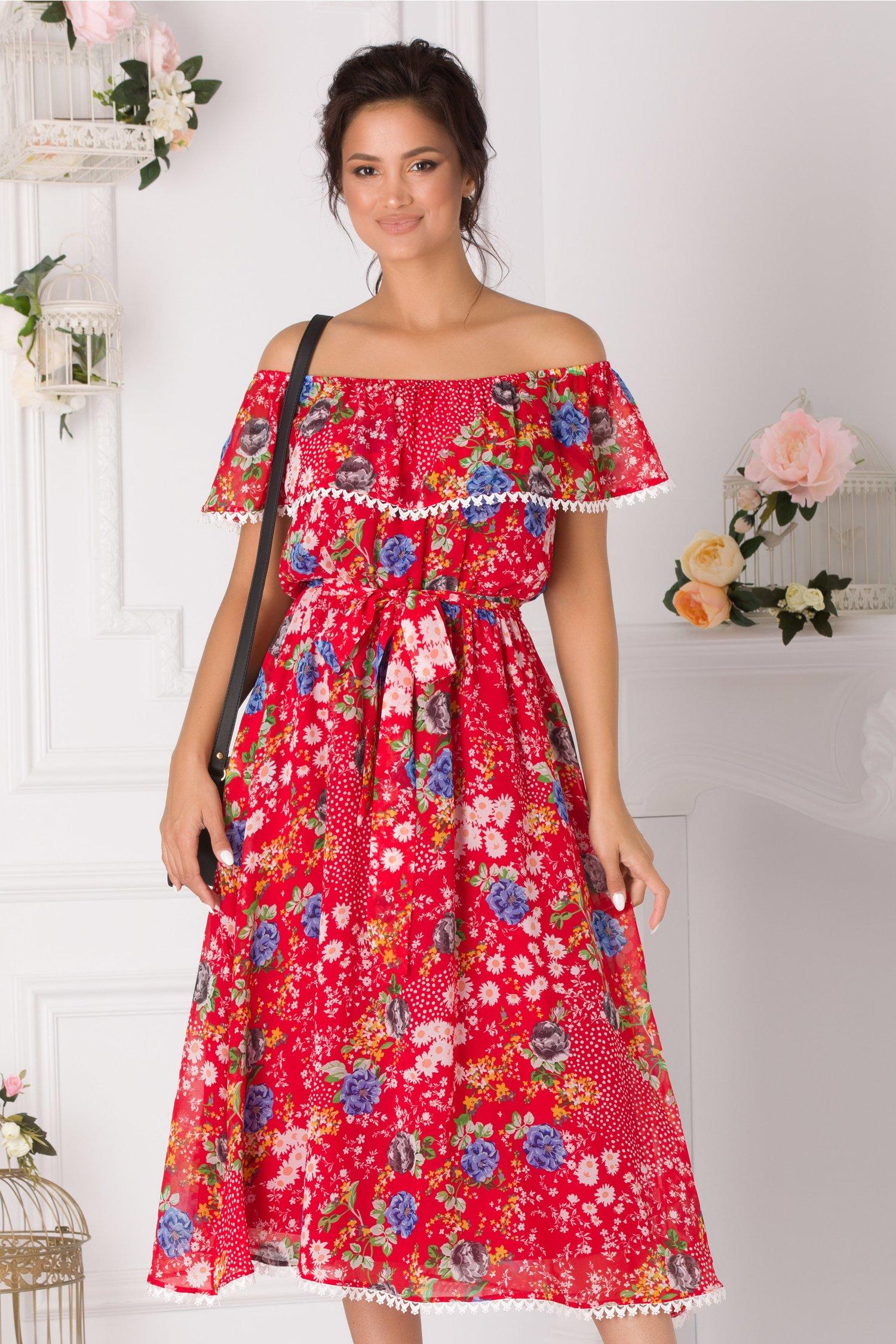 Rochie Ariana midi rosie cu imprimeuri florale