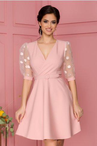 Rochie Ariana roz cu maneci din organza cu buline