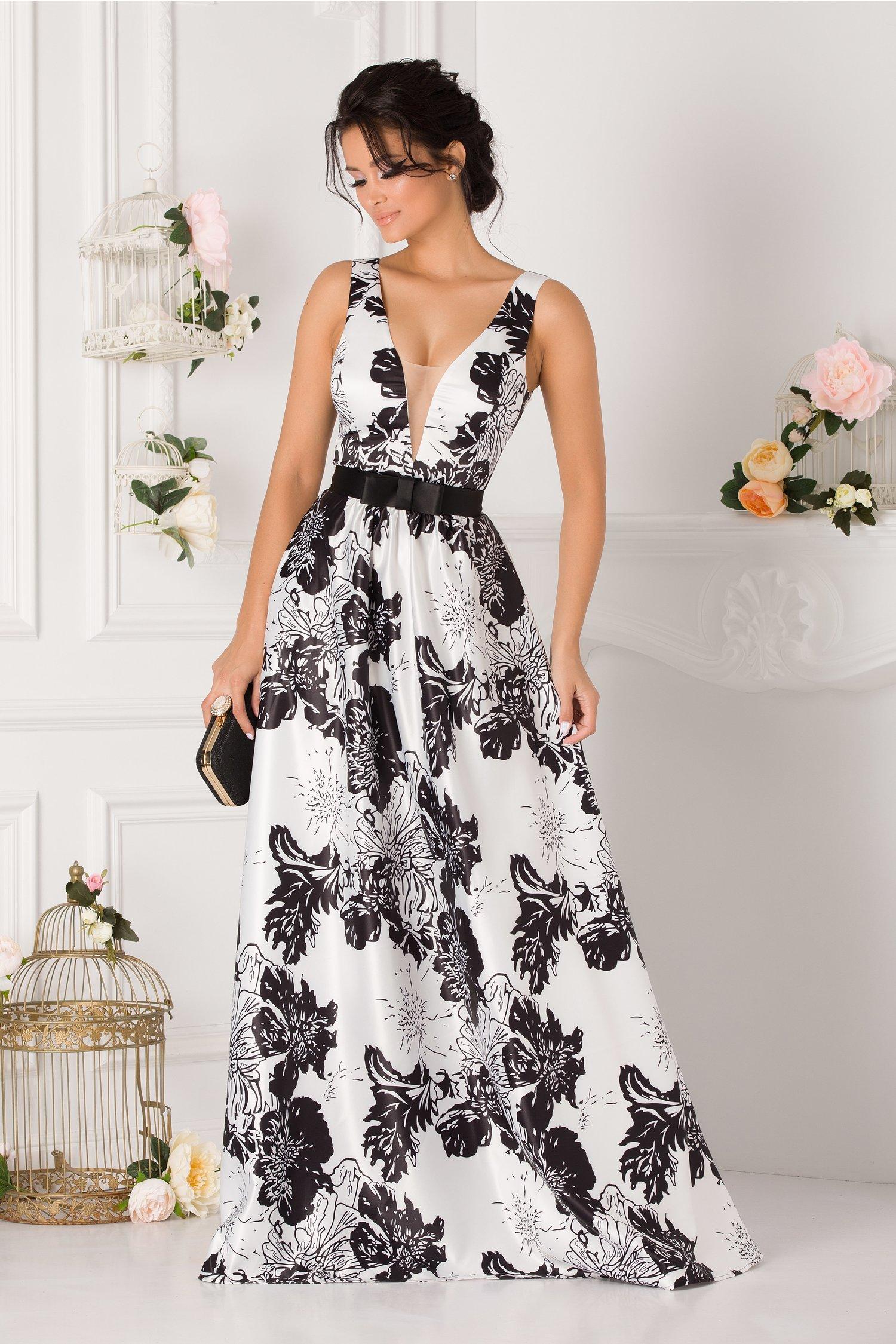 Rochie Artista alba cu imprimeuri florale negre