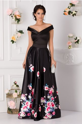 Rochie Artista Argus de seara neagra cu trandafiri roz