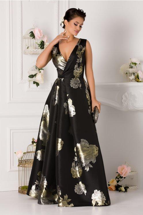 Rochie Artista neagra lunga cu imprimeu floral argintiu